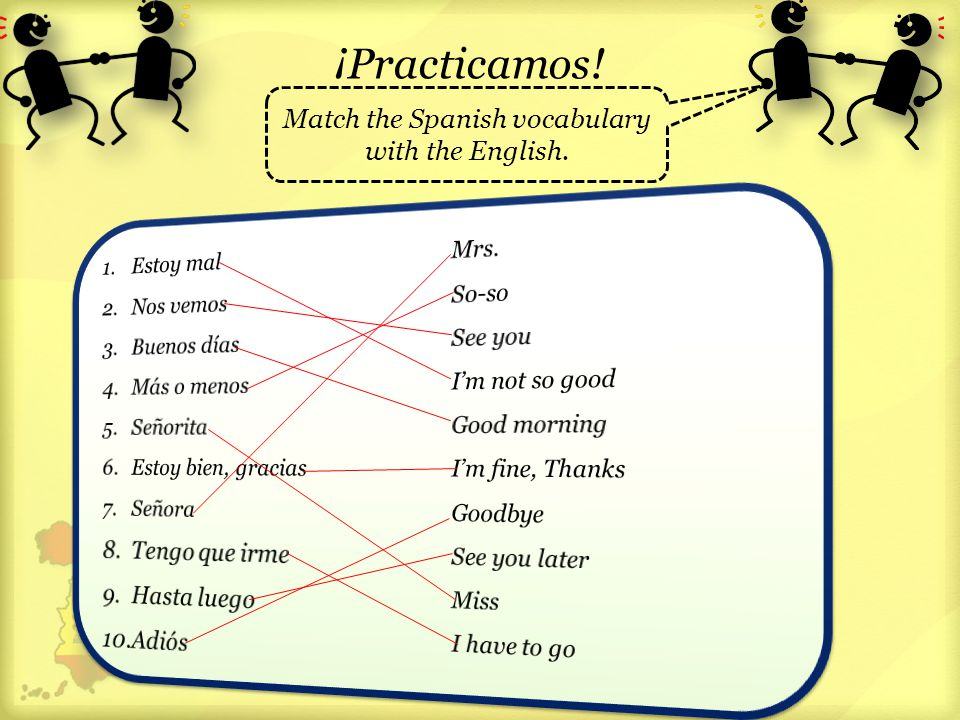 Match the Spanish vocabulary with the English.