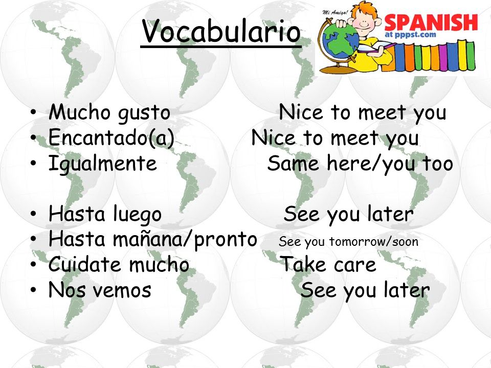 Vocabulario Mucho gusto Nice to meet you Encantado(a) Nice to meet you