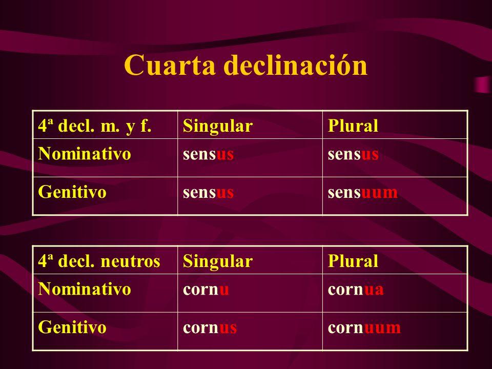 Cuarta declinación 4ª decl. m. y f. Singular Plural Nominativo sensus