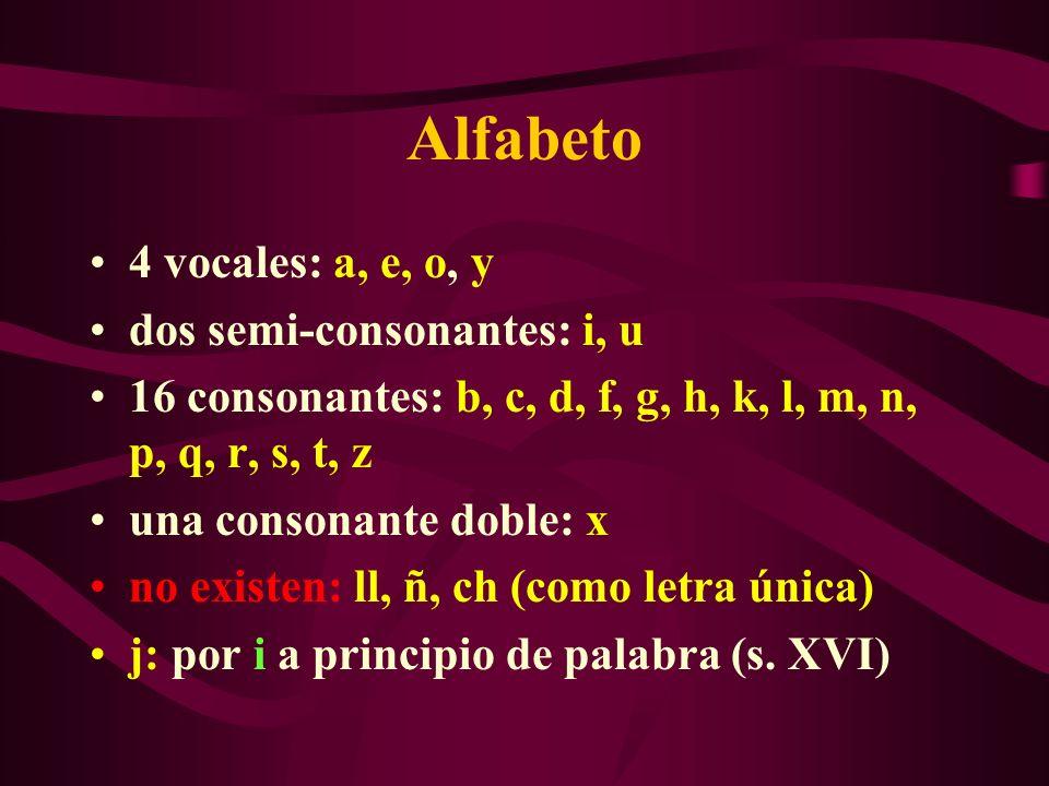 Alfabeto 4 vocales: a, e, o, y dos semi-consonantes: i, u