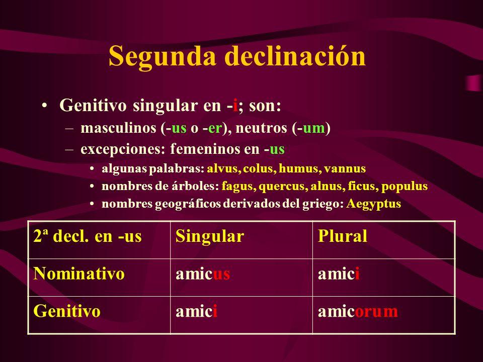 Segunda declinación Genitivo singular en -i; son: 2ª decl. en -us