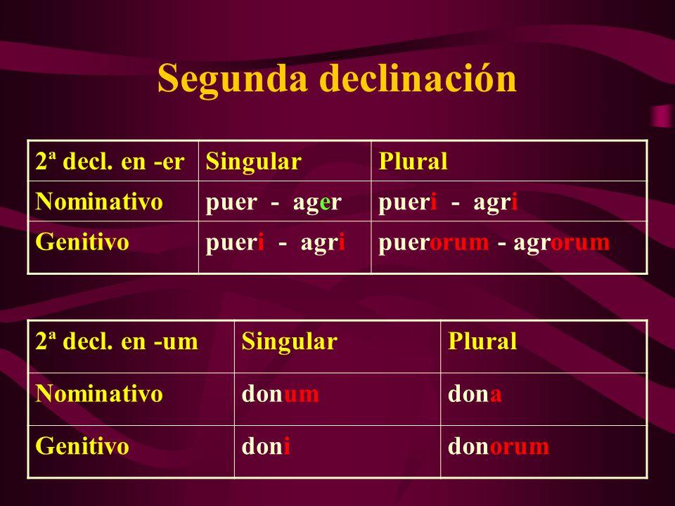 Segunda declinación 2ª decl. en -er Singular Plural Nominativo