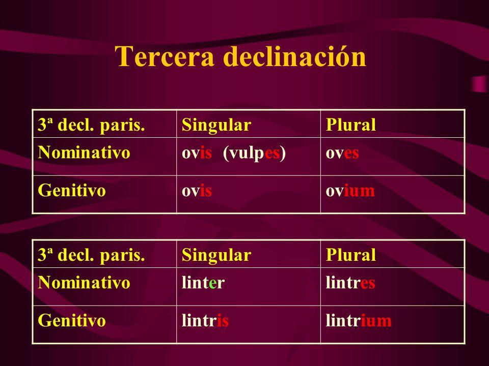 Tercera declinación 3ª decl. paris. Singular Plural Nominativo