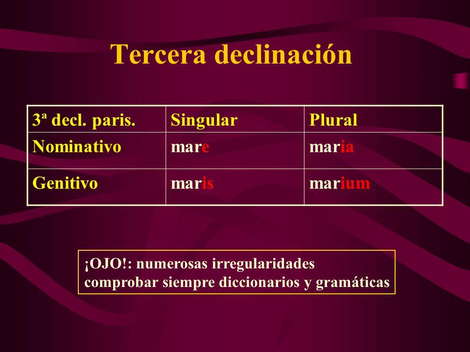 Tercera declinación 3ª decl. paris. Singular Plural Nominativo mare