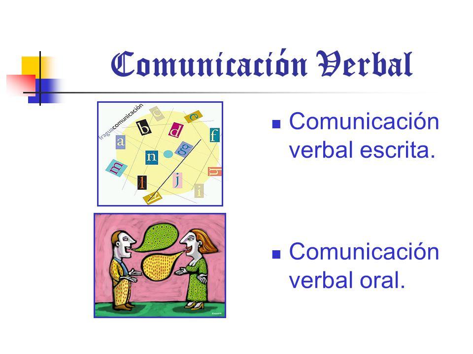 Comunicación Verbal Comunicación verbal escrita.