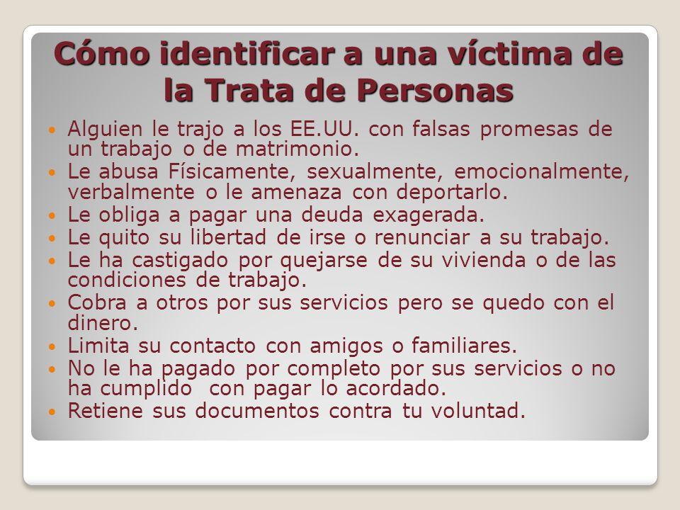 Cómo identificar a una víctima de la Trata de Personas