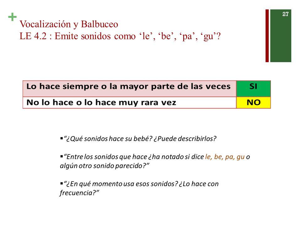 Vocalización y Balbuceo LE 4