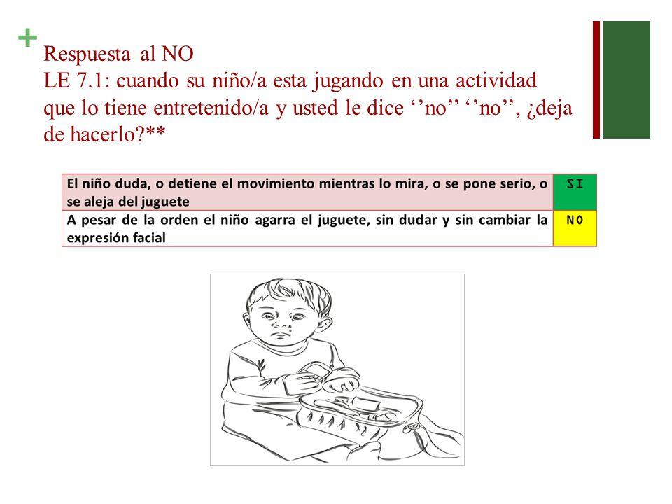 Respuesta al NO LE 7.1: cuando su niño/a esta jugando en una actividad que lo tiene entretenido/a y usted le dice ''no'' ''no'', ¿deja de hacerlo **