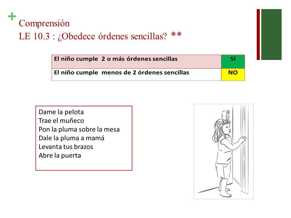 Comprensión LE 10.3 : ¿Obedece órdenes sencillas **