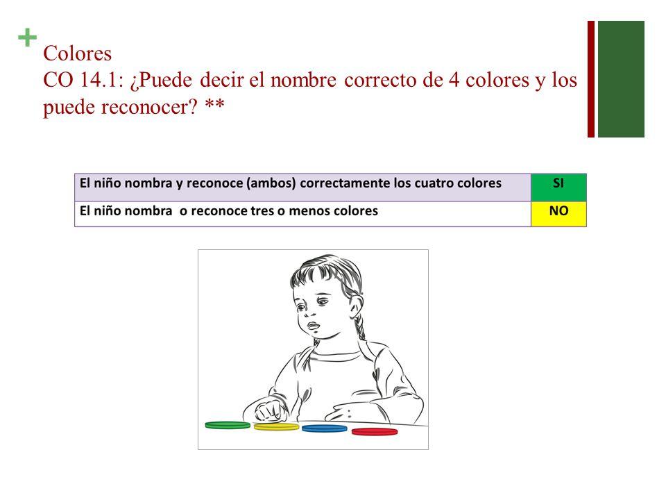 Colores CO 14.1: ¿Puede decir el nombre correcto de 4 colores y los puede reconocer **