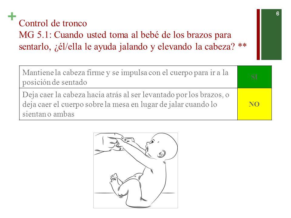 Control de tronco MG 5.1: Cuando usted toma al bebé de los brazos para sentarlo, ¿él/ella le ayuda jalando y elevando la cabeza **