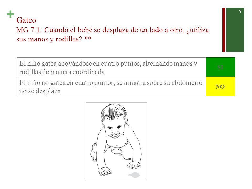 Gateo MG 7.1: Cuando el bebé se desplaza de un lado a otro, ¿utiliza sus manos y rodillas **