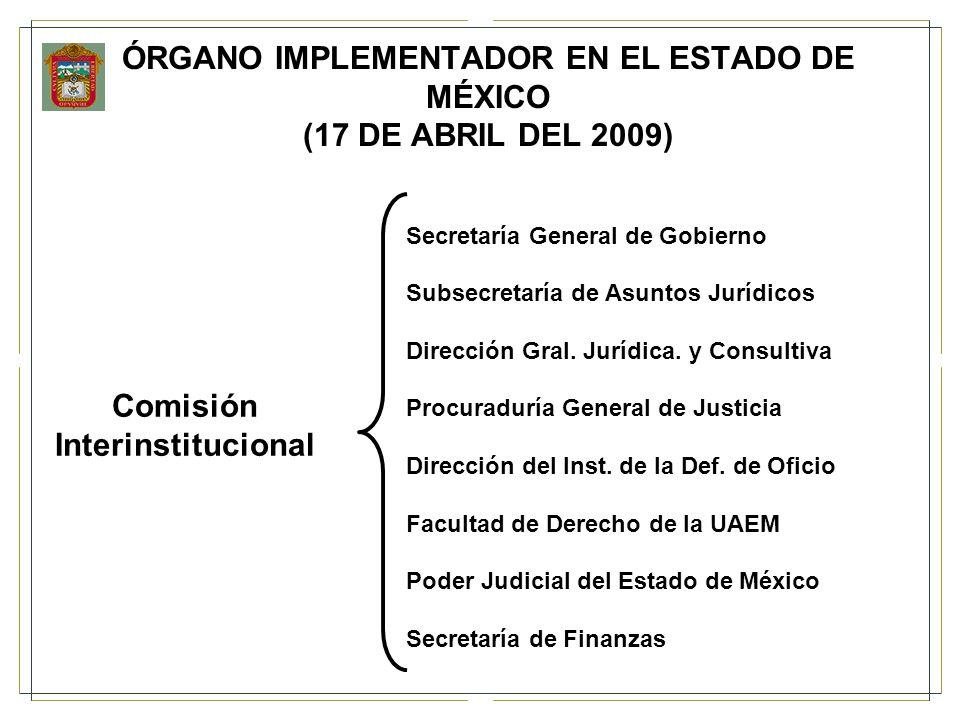 ÓRGANO IMPLEMENTADOR EN EL ESTADO DE MÉXICO (17 DE ABRIL DEL 2009)