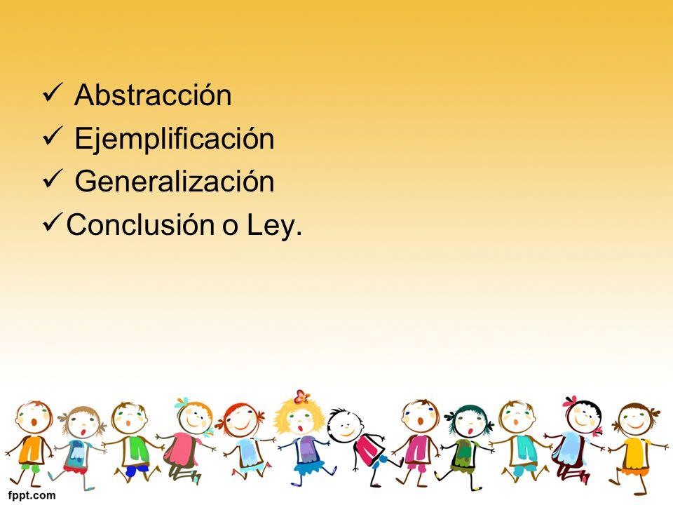 Abstracción Ejemplificación Generalización Conclusión o Ley.