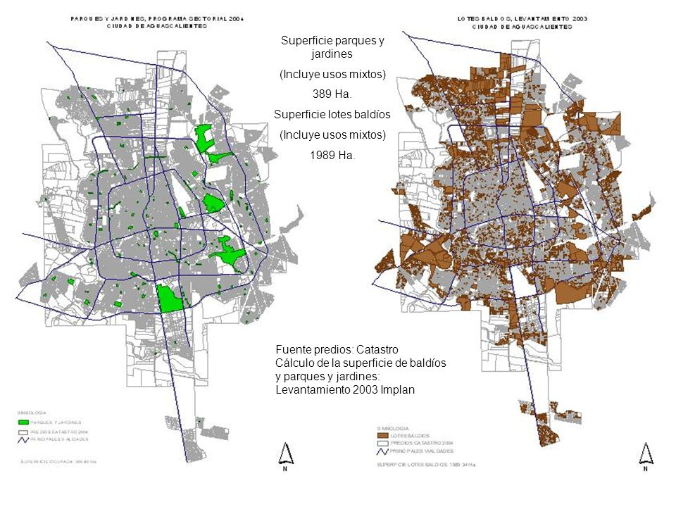 Superficie parques y jardines (Incluye usos mixtos) 389 Ha.