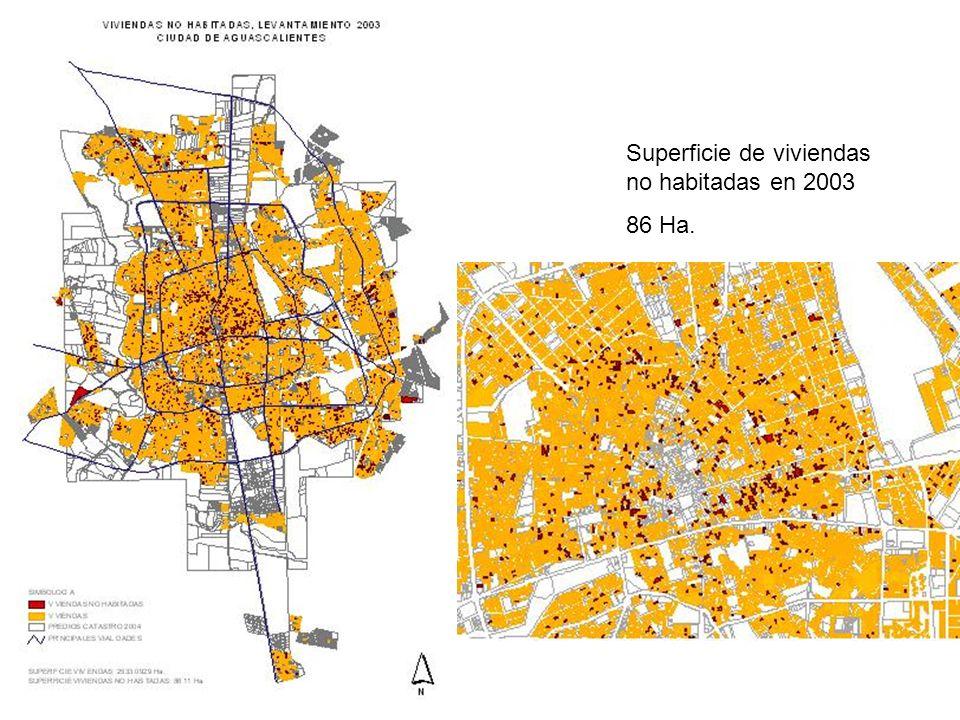 Superficie de viviendas no habitadas en 2003