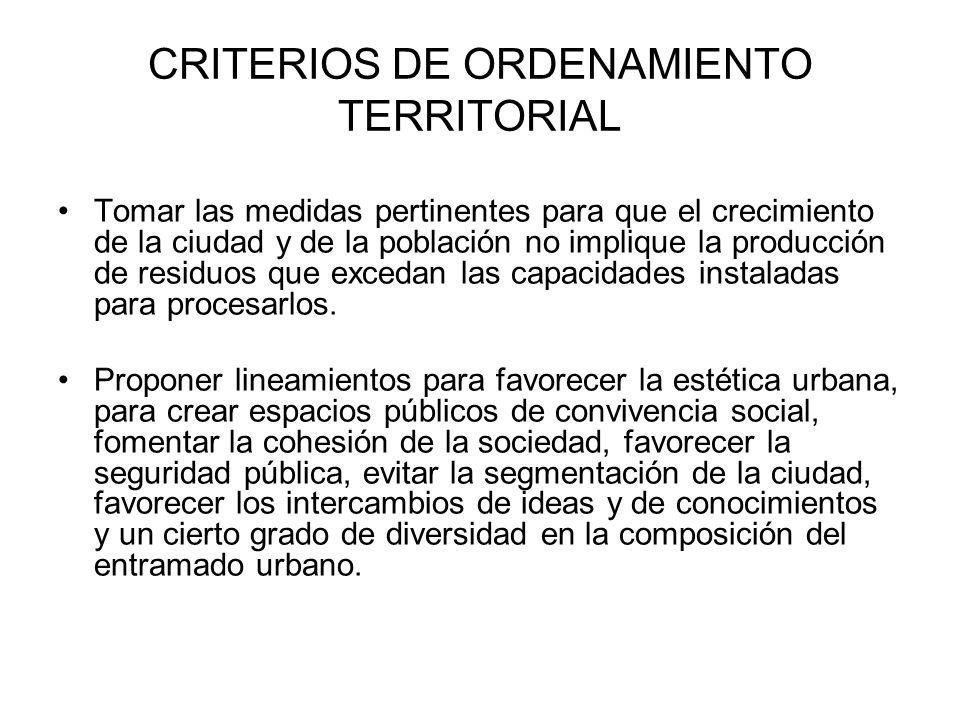 CRITERIOS DE ORDENAMIENTO TERRITORIAL