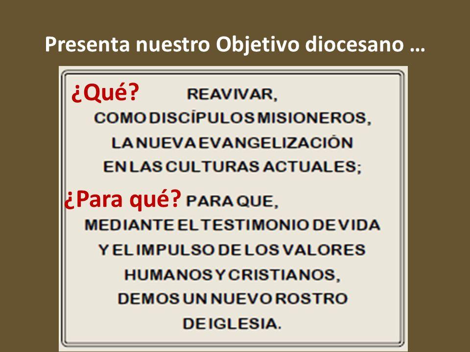 Presenta nuestro Objetivo diocesano …