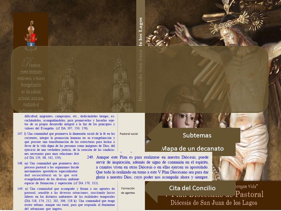 Subtemas Mapa de un decanato. Cita del Concilio. En 97 páginas, 249 párrafos enumerados, se presentan sus ocho partes o capítulos.