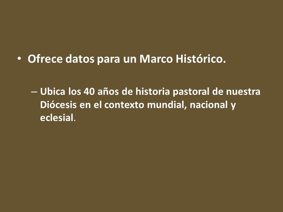 Ofrece datos para un Marco Histórico.