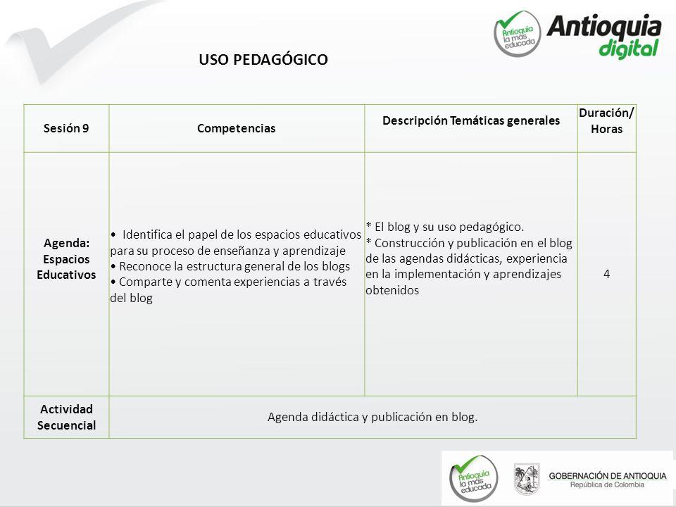 Descripción Temáticas generales Agenda: Espacios Educativos