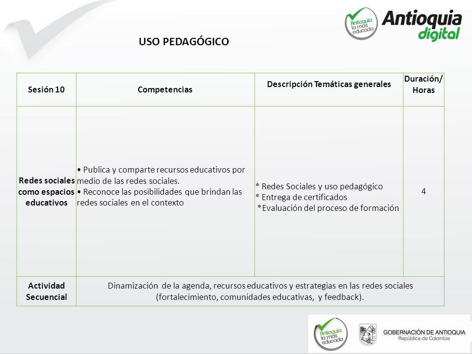 USO PEDAGÓGICO Sesión 10 Competencias Descripción Temáticas generales