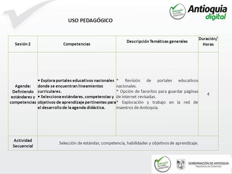 USO PEDAGÓGICO Sesión 2 Competencias Descripción Temáticas generales