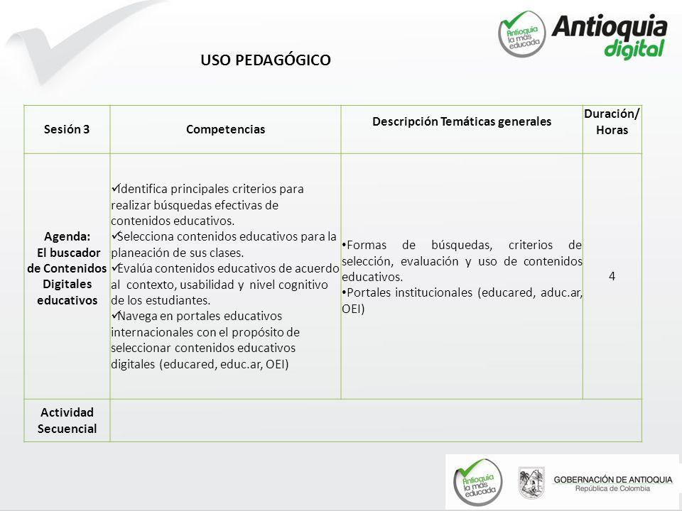 USO PEDAGÓGICO Sesión 3 Competencias Descripción Temáticas generales