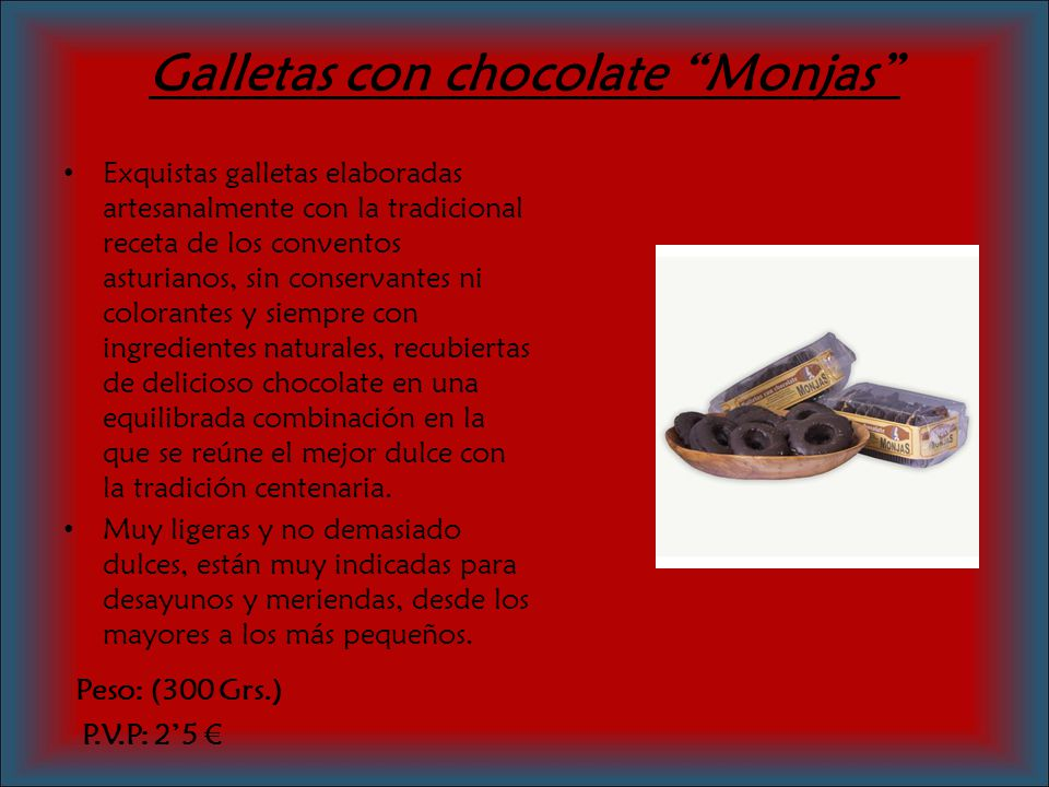 Galletas con chocolate Monjas