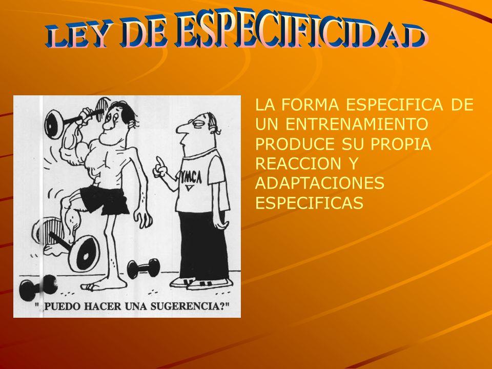 LEY DE ESPECIFICIDAD LA FORMA ESPECIFICA DE UN ENTRENAMIENTO PRODUCE SU PROPIA REACCION Y ADAPTACIONES ESPECIFICAS.