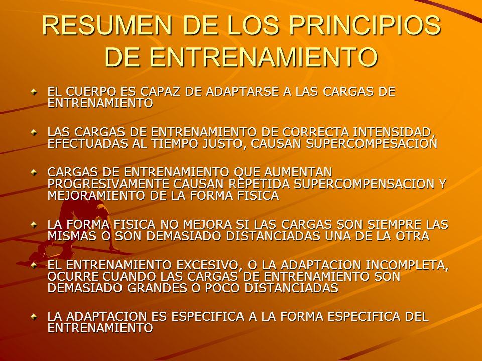 RESUMEN DE LOS PRINCIPIOS DE ENTRENAMIENTO