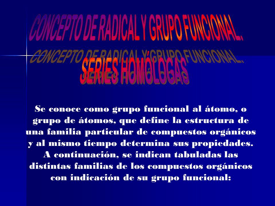 Presentacion De Los Grupos Funcionales: CONCEPTO DE RADICAL Y GRUPO FUNCIONAL.