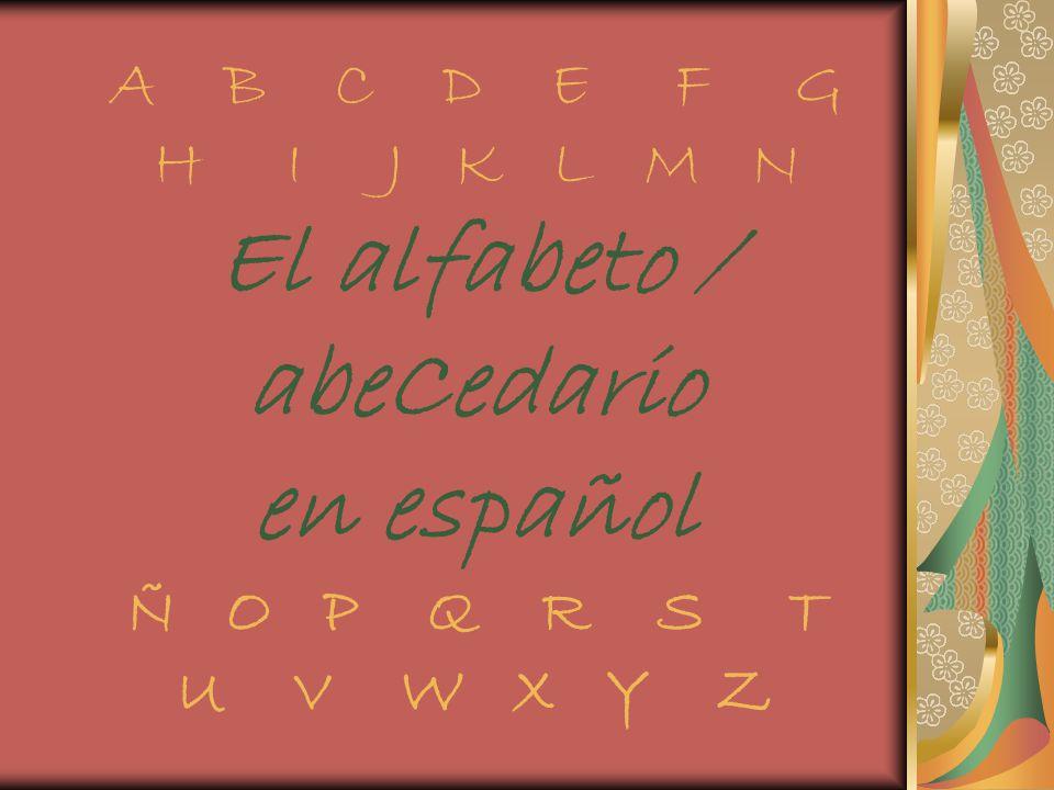 A B C D E F G H I J K L M N El alfabeto / abeCedario en español Ñ O P Q R S T U V W X Y Z
