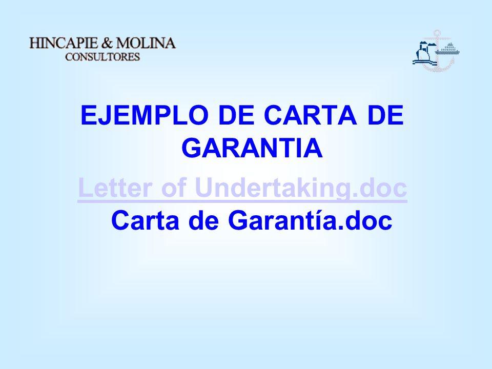 EJEMPLO DE CARTA DE GARANTIA