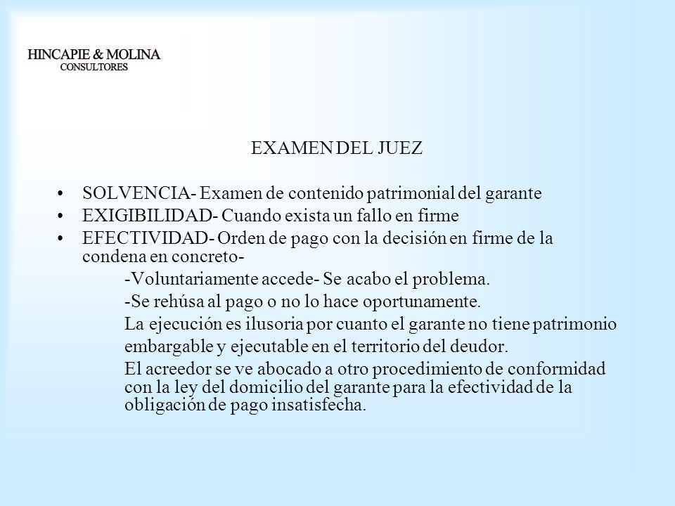 EXAMEN DEL JUEZ SOLVENCIA- Examen de contenido patrimonial del garante. EXIGIBILIDAD- Cuando exista un fallo en firme.