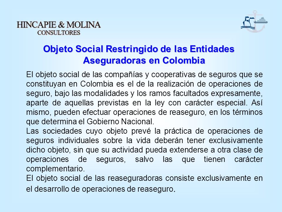 Objeto Social Restringido de las Entidades Aseguradoras en Colombia