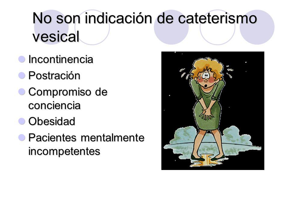 No son indicación de cateterismo vesical