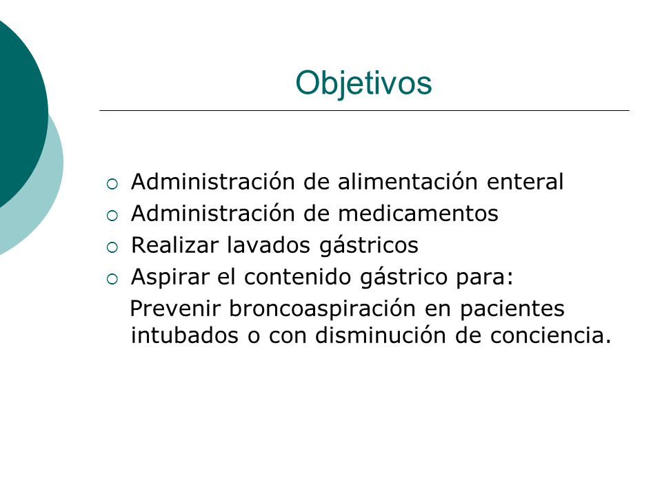 Objetivos Administración de alimentación enteral