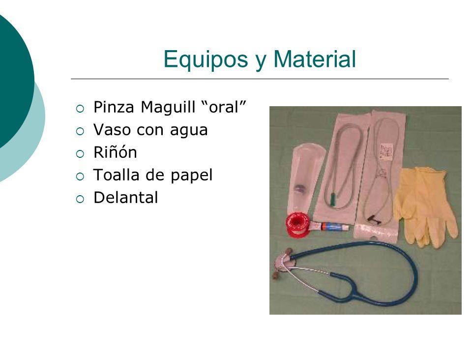 Equipos y Material Pinza Maguill oral Vaso con agua Riñón