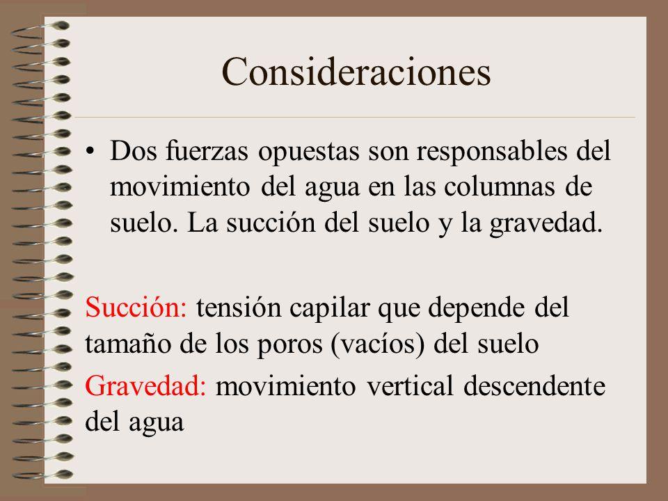 Consideraciones Dos fuerzas opuestas son responsables del movimiento del agua en las columnas de suelo. La succión del suelo y la gravedad.