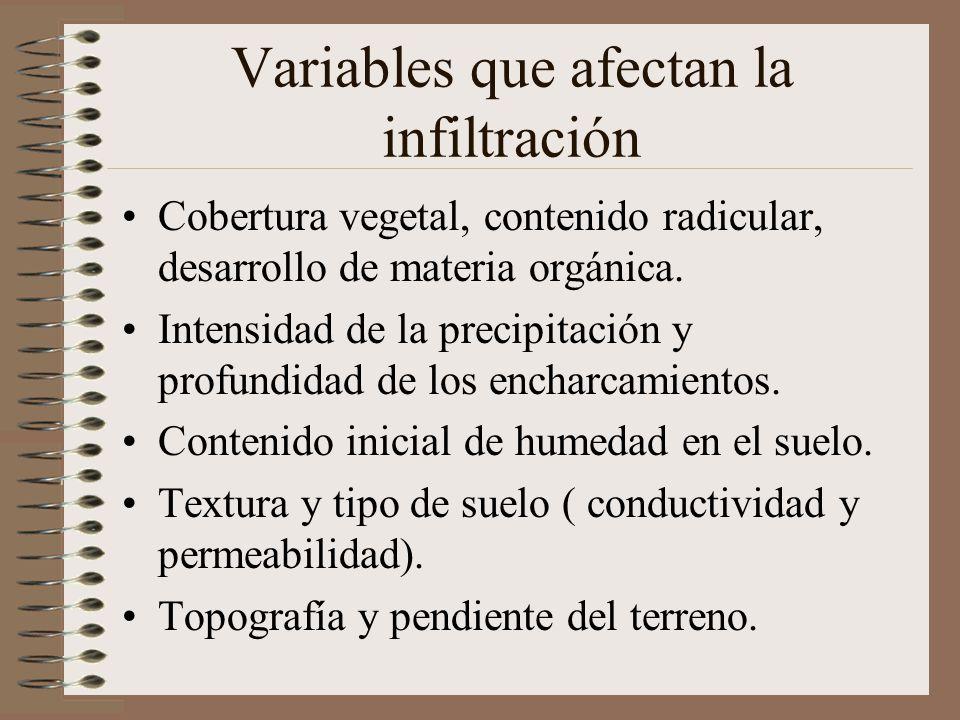 Variables que afectan la infiltración