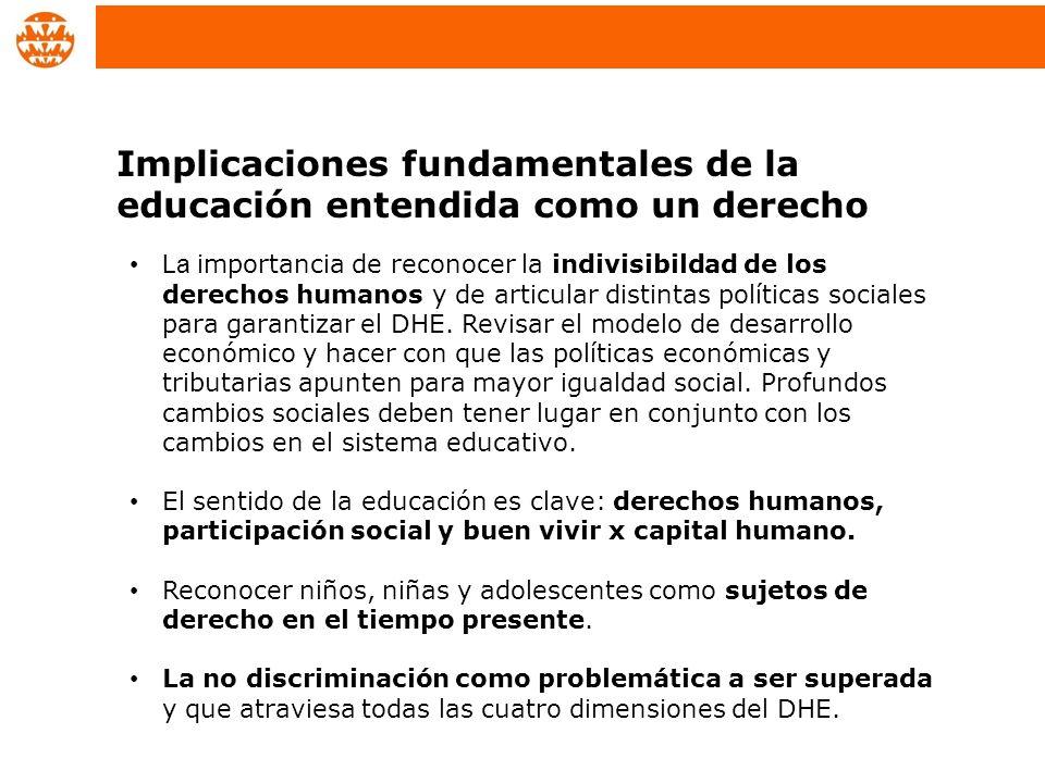 Implicaciones fundamentales de la educación entendida como un derecho