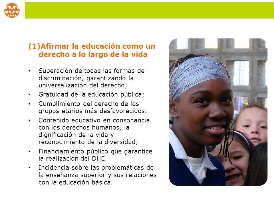 Afirmar la educación como un derecho a lo largo de la vida