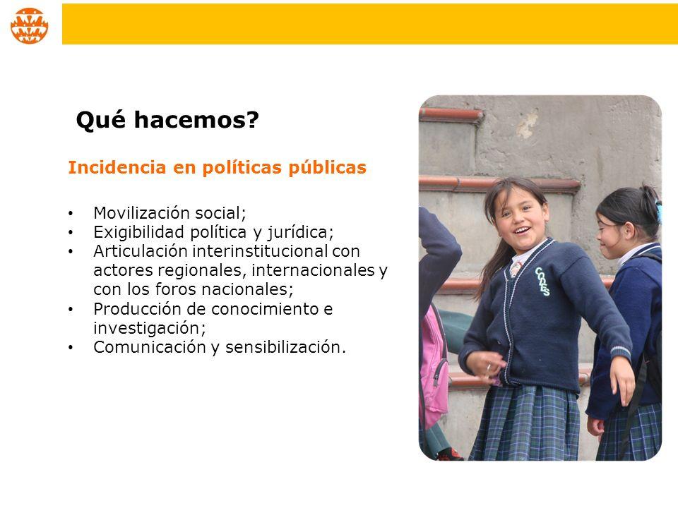 Qué hacemos Incidencia en políticas públicas Movilización social;