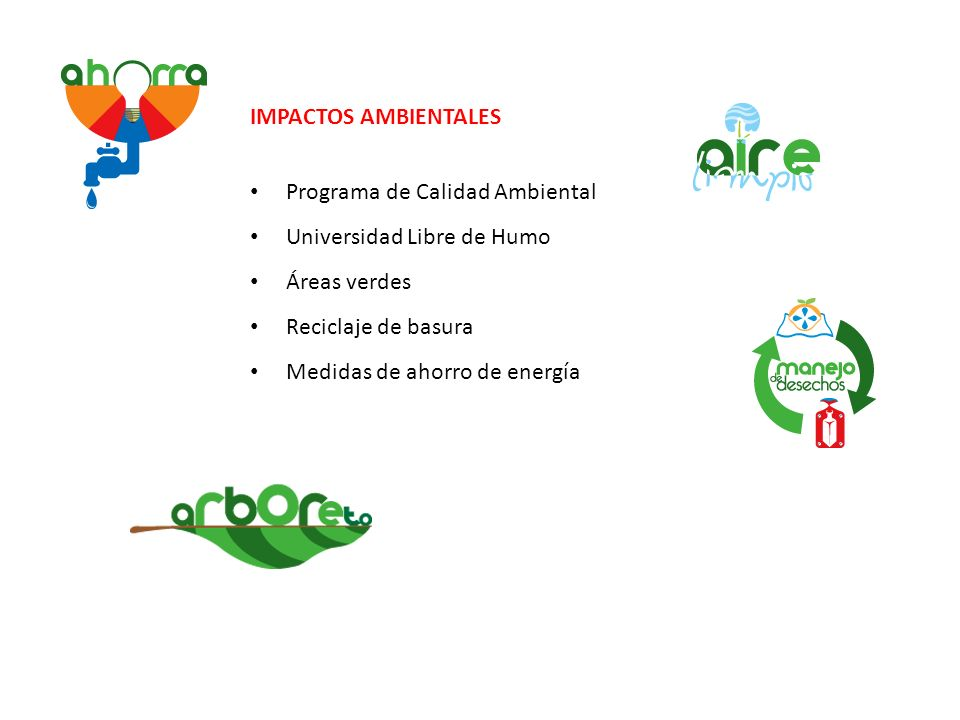IMPACTOS AMBIENTALES Programa de Calidad Ambiental. Universidad Libre de Humo. Áreas verdes. Reciclaje de basura.