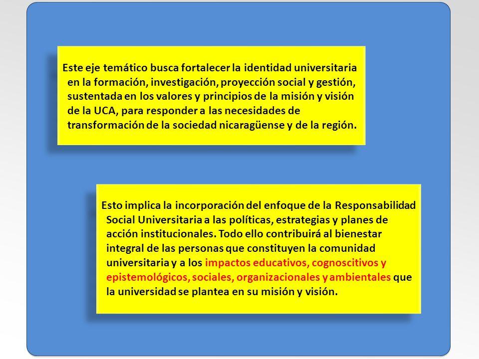 Este eje temático busca fortalecer la identidad universitaria en la formación, investigación, proyección social y gestión, sustentada en los valores y principios de la misión y visión de la UCA, para responder a las necesidades de transformación de la sociedad nicaragüense y de la región.