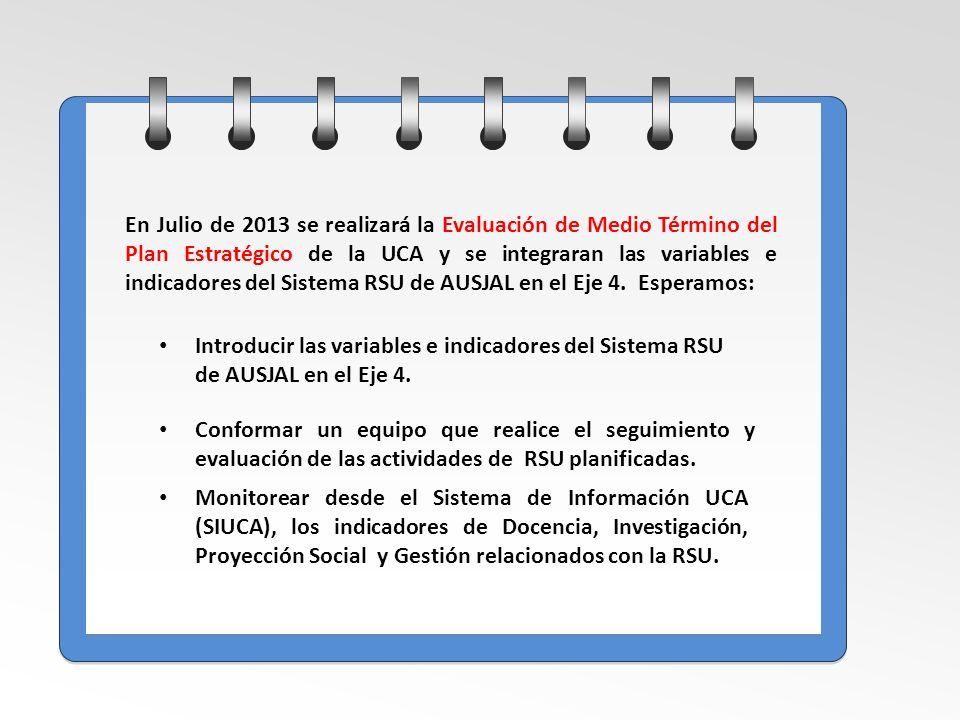 En Julio de 2013 se realizará la Evaluación de Medio Término del Plan Estratégico de la UCA y se integraran las variables e indicadores del Sistema RSU de AUSJAL en el Eje 4. Esperamos:
