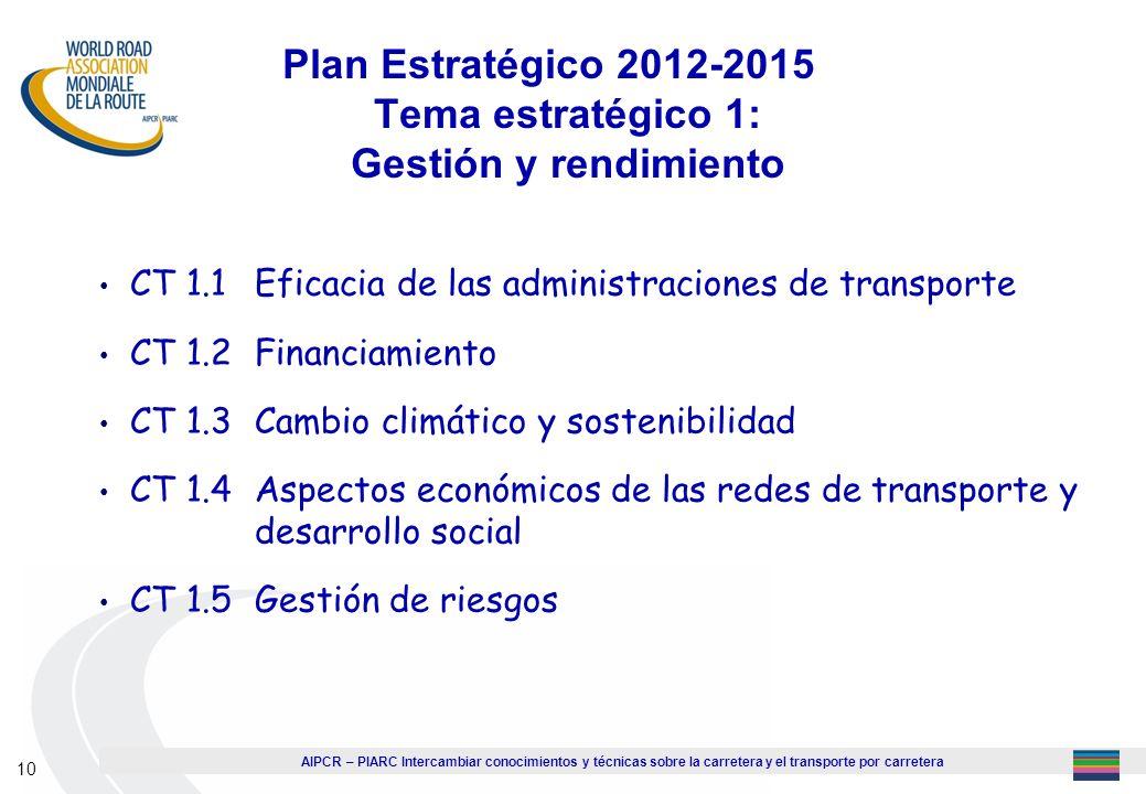 Plan Estratégico 2012-2015 Tema estratégico 1: Gestión y rendimiento