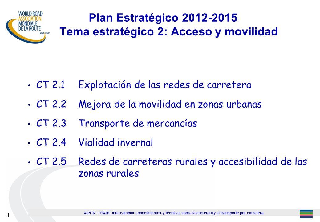 Plan Estratégico 2012-2015 Tema estratégico 2: Acceso y movilidad
