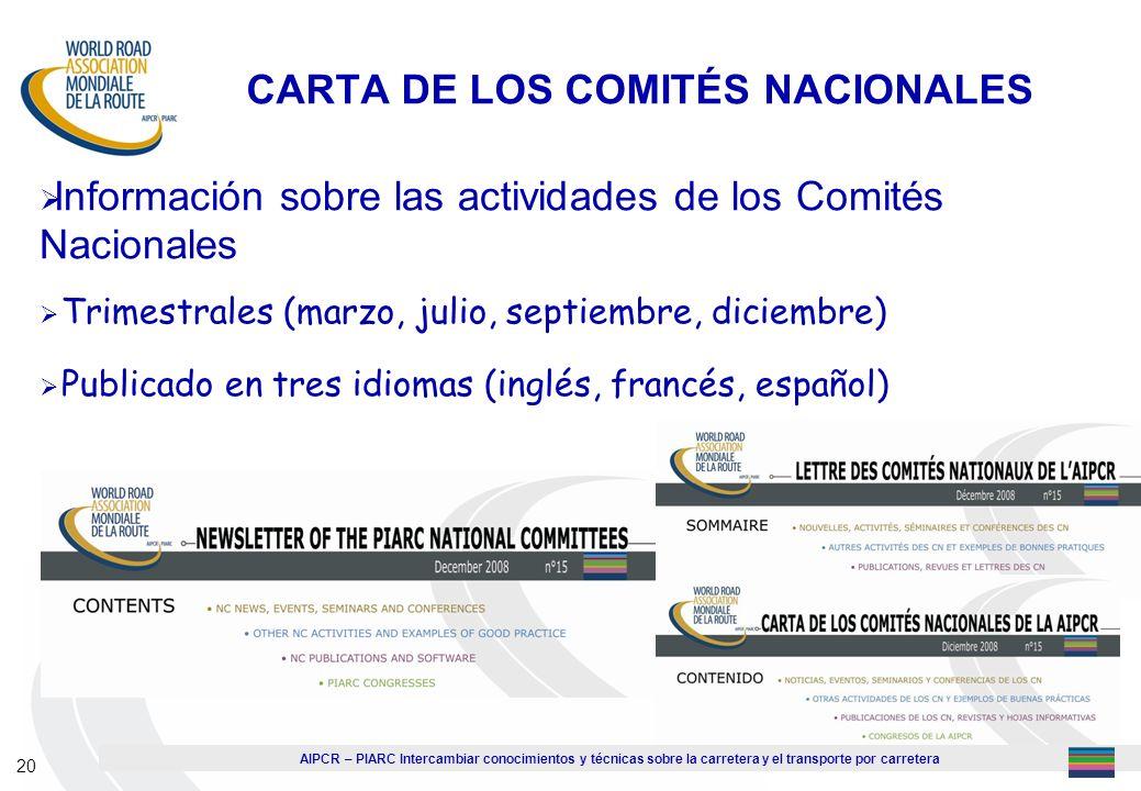 CARTA DE LOS COMITÉS NACIONALES